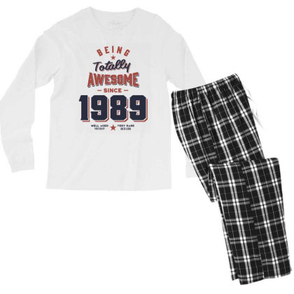 Being Totally Awesome Since 1989 Birthday Gift Men's Long Sleeve Pajama Set Designed By Cidolopez