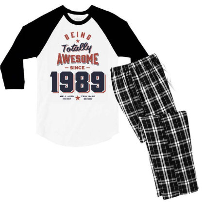 Being Totally Awesome Since 1989 Birthday Gift Men's 3/4 Sleeve Pajama Set Designed By Cidolopez