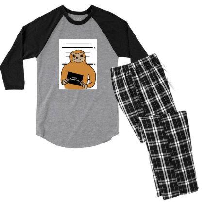 Sloth Stuck Men's 3/4 Sleeve Pajama Set Designed By Cypryanus