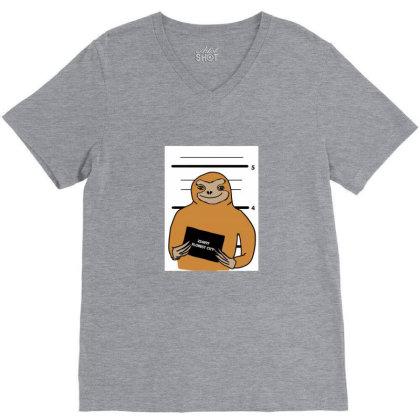 Sloth Stuck V-neck Tee Designed By Cypryanus