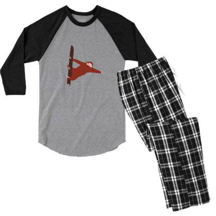Sloth Red Men's 3/4 Sleeve Pajama Set Designed By Cypryanus