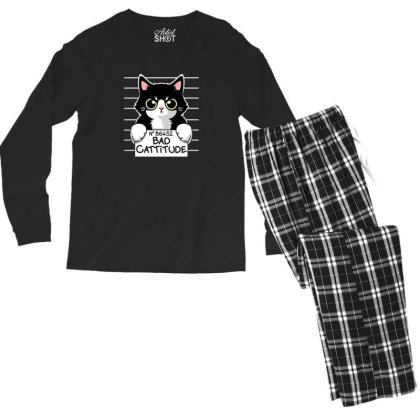 Bad Cattitude Men's Long Sleeve Pajama Set Designed By Cuser3244
