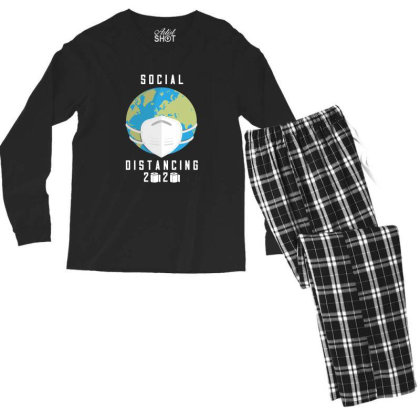 Social Distancing 2020 Shirt Men's Long Sleeve Pajama Set Designed By Faical