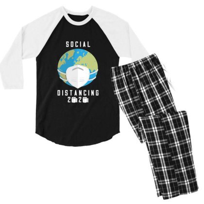 Social Distancing 2020 Shirt Men's 3/4 Sleeve Pajama Set Designed By Faical
