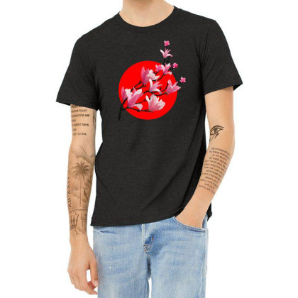 Sakura Blossom Red Moon Heather T-shirt Designed By 90stings