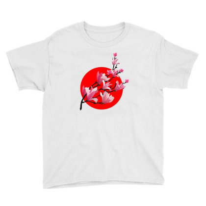 Sakura Blossom Red Moon Youth Tee Designed By 90stings