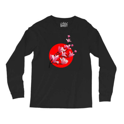 Sakura Blossom Red Moon Long Sleeve Shirts Designed By 90stings
