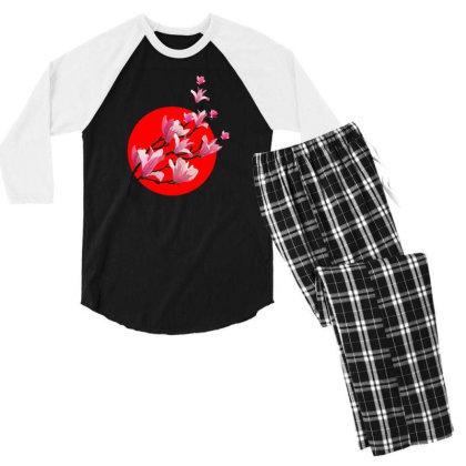 Sakura Blossom Red Moon Men's 3/4 Sleeve Pajama Set Designed By 90stings