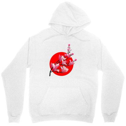 Sakura Blossom Red Moon Unisex Hoodie Designed By 90stings