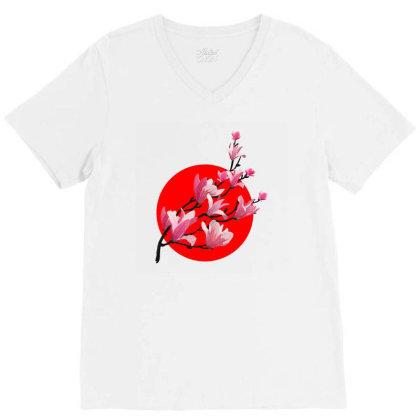 Sakura Blossom Red Moon V-neck Tee Designed By 90stings