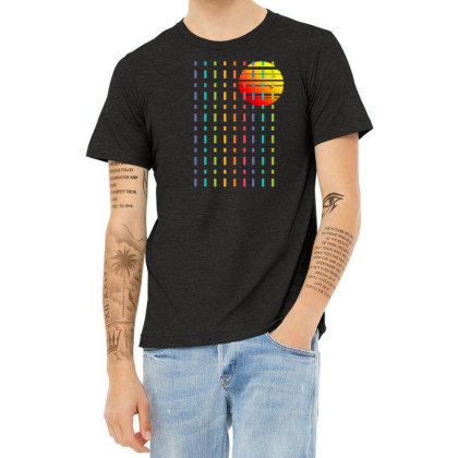 Rainbow Sunset Line Heather T-shirt Designed By 90stings