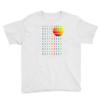 Rainbow Sunset Line Youth Tee Designed By 90stings