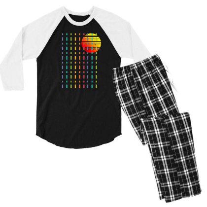 Rainbow Sunset Line Men's 3/4 Sleeve Pajama Set Designed By 90stings