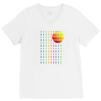 Rainbow Sunset Line V-neck Tee Designed By 90stings