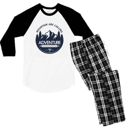 The Mountains Are Calling Men's 3/4 Sleeve Pajama Set Designed By 90stings