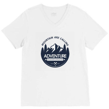 The Mountains Are Calling V-neck Tee Designed By 90stings