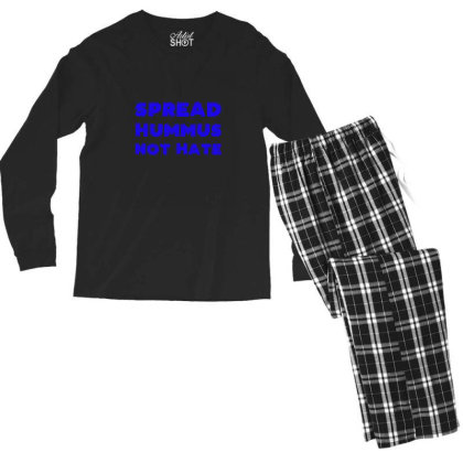 Spread Hummus Not Hate Men's Long Sleeve Pajama Set Designed By Wd650