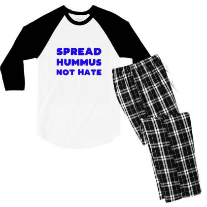 Spread Hummus Not Hate Men's 3/4 Sleeve Pajama Set Designed By Wd650