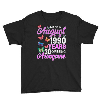 Made In August 1990 Years 30 Of Being Awesome For Dark Youth Tee Designed By Sengul
