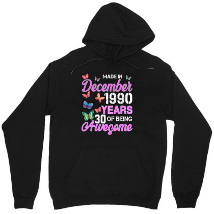 Made In December 1990 Years 30 Of Being Awesome For Dark Unisex Hoodie Designed By Sengul