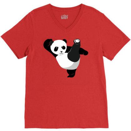 Karate Panda V-neck Tee Designed By Ramateeshirt