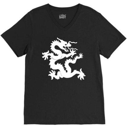Kung Fu Dragon V-neck Tee Designed By Ramateeshirt