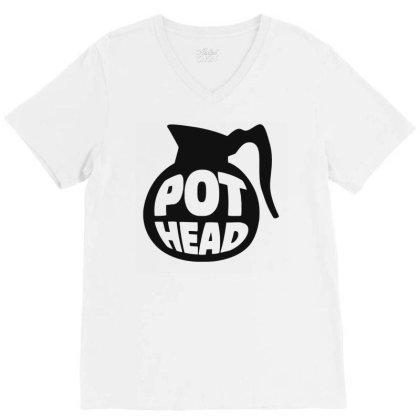 Pot Head V-neck Tee Designed By Ramateeshirt