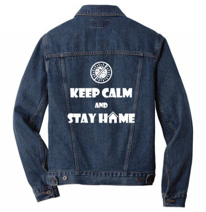Keep Calm And Stay Home Men Denim Jacket Designed By Twinklered.com