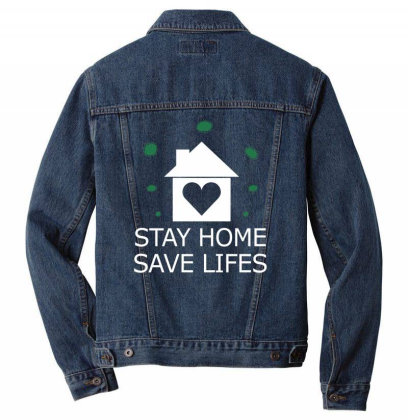 Stay Home Save Lifes Fight Covid19 Men Denim Jacket Designed By Twinklered.com