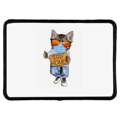 Stay Home Cat Rectangle Patch Designed By Gurkan