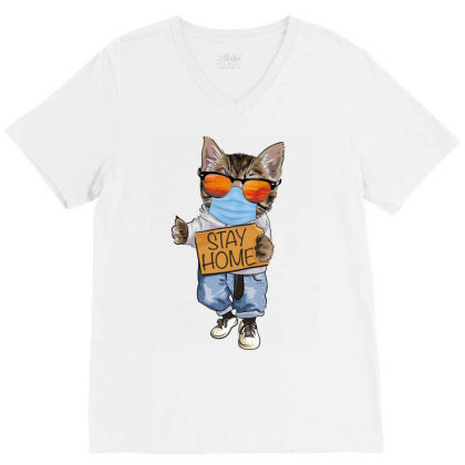 Stay Home Cat V-neck Tee Designed By Gurkan