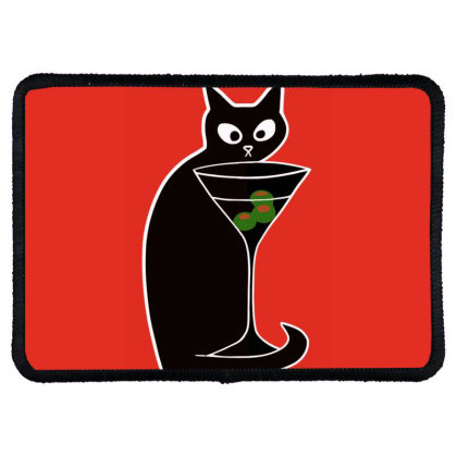 Black Cats Love Martinis  Shaken Not Stirred Rectangle Patch Designed By Anis4