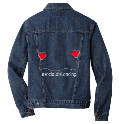 Love In Social Distancing Men Denim Jacket Designed By Alececonello