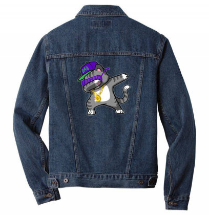Dabbing Cat Funny Shirt Dab Hip Hop Men Denim Jacket Designed By Vomaria