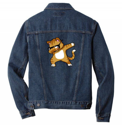 Dabbing Cat Funny Shirt Dab Hip Hop Dabbing Kitten Men Denim Jacket Designed By Vomaria