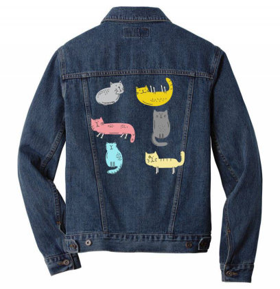 Cats Draw Men Denim Jacket Designed By Anis4