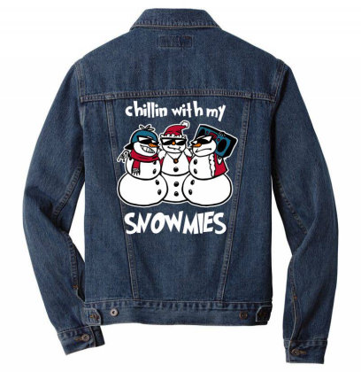 Chillin' With My Snowmies Men Denim Jacket Designed By Anis4