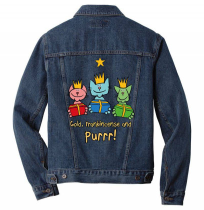 Christmas – Three Wise Cats Men Denim Jacket Designed By Anis4