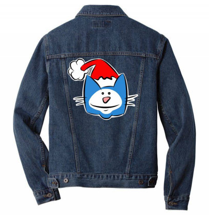Christmas Cat With Santa Hat Men Denim Jacket Designed By Anis4