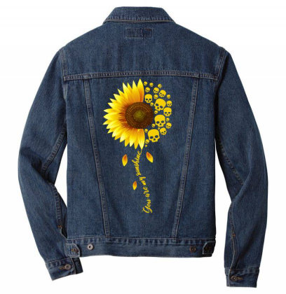 Sunflower Skull Men Denim Jacket Designed By Badaudesign