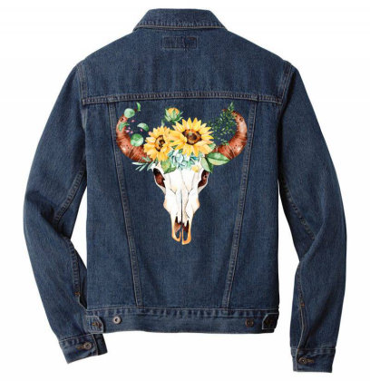 Sunflower Steer Skull Men Denim Jacket Designed By Badaudesign