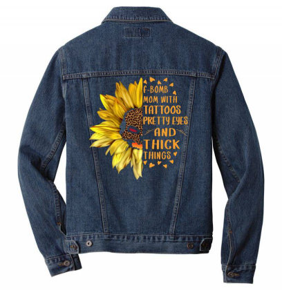 Leopard Printed Sunflower F Bomb Mom With Tattoos Men Denim Jacket Designed By Badaudesign