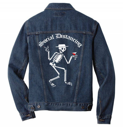 Social Distancing Men Denim Jacket Designed By Badaudesign
