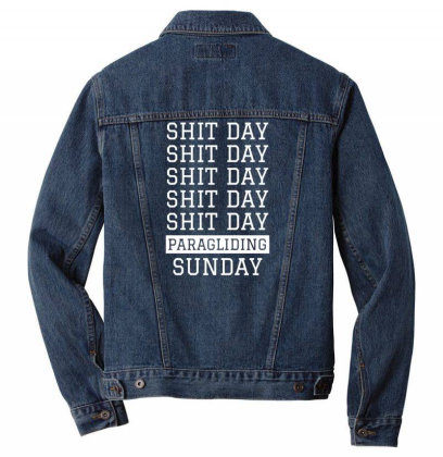 Shit Day Paragliding Sunday Men Denim Jacket Designed By Ramateeshirt