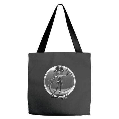 The Piratess - Bw Tote Bags Designed By Pinkyotter Art