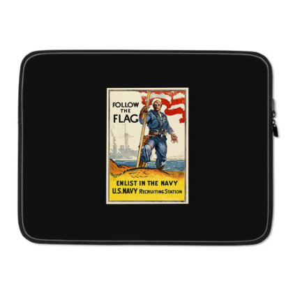 1942 Navy Recruitment Poster Follow The Flag Laptop Sleeve Designed By Connie