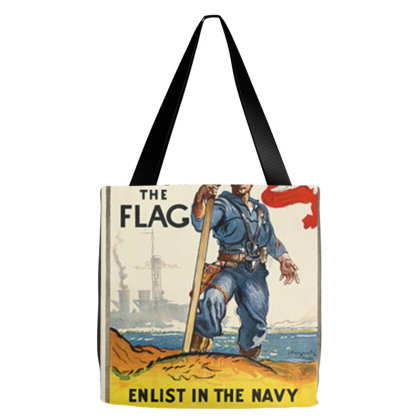 1942 Navy Recruitment Poster Follow The Flag Tote Bags Designed By Connie