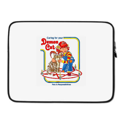 Caring For Your Demon Cat Laptop Sleeve Designed By Talans