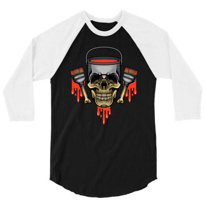 Paint Skull 3/4 Sleeve Shirt Designed By Stayhoom