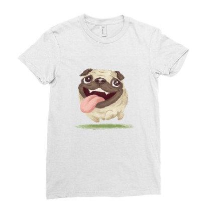 Active Pug Ladies Fitted T-shirt Designed By Toru_sanogawa